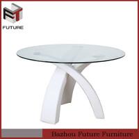 Modern wood leg glass round dinner table