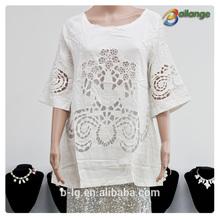 Bailange blusas y tops tipo de producto del cordón de la blusa de la nueva moda ahueca hacia fuera el ganchillo hecho punto chalecos patrones