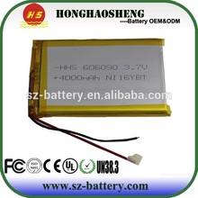 high capacity 3.7v 4000mah li-polymer rechargeable battery 606090 4000 mah battery 3.7v lithium battery