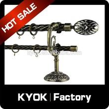 KYOK dual curtain rod factory ,beaded curtain rod ceiling ,bendable curtain rail