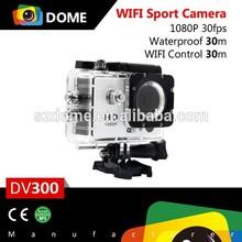 WiFi and Remote Sports Camera 1080p Full HD, 170 Degree with Waterproof Case, Bike Helmet