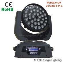 36x18W RGBWAP 6in1 Aura Zoom Moving Head Light