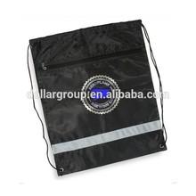 Promotional Reflective Safety Strip Custom Drawstring Backpack