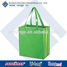 Green shiny lamination non-woven tropic shopper tote bag