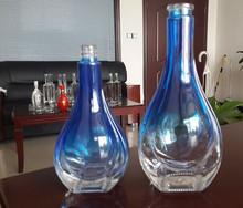 Wholesale empty blue colored liquor paint glass bottle