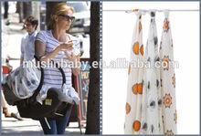Hot sale multifunctional muslin baby swaddle blanket STARS LOVES