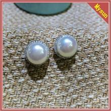 Oval diamond fashion wholesale freshwater pearl earrings