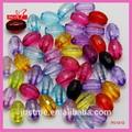 Venta al por mayor color mezclado tallados ovales de acrílico bolas para la joyería que hace P01810