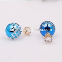Double Sides Blue Pearl Ball Diamond Stud Earrings