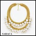 moda de múltiples capas grande de la perla del grano grueso collar de cadena de oro plateado a895