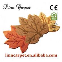 Polyester bright-coloured leaf patterned carpets