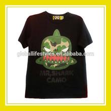 2015 Fashion Products Bros Mr. Shark Camo Men Cotton Printed Short Sleeve Black T-Shirt Tee