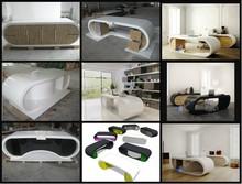 Artist taste playful form unusual design stylish white high gloss office desk