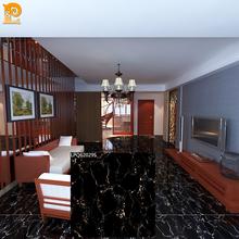 glazed full polished porcelain golden black marble tile