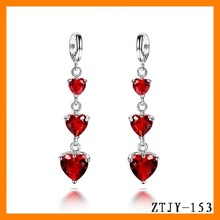 fashion long heart to heart zircon pendant clip-on earring wholesale ZTJY-153