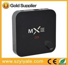 Best Mali450 GPU 4K HD Quad Core 4k player tv box Amlogic S802 enjoy tv android tv set top box MXIII