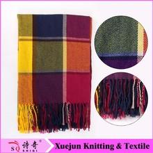 2014 fashion colorful grid stripe knitting scarf patterns
