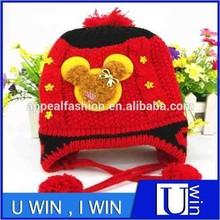 wholesale red bear children puffball winter hat