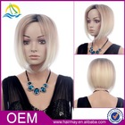Pretty short Blonde mixed human hair and synthetic wigs