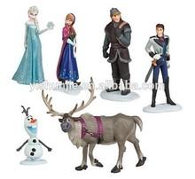 2014 hot 6pcs New Movie Frozen Figure Play Set Anna Elsa Hans Kristoff Sven Olaf loose toys doll figure