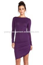 Wholesale Cheap women Asymmetric wrap dress long sleeve skirt design