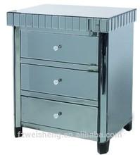 3 Drawer Smokeblack Mirrored Nightstand/Bedside Cabinet/Chest