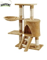 Anji Kaifeng popular small colorful Luxury wooden and sisal Cat Tree ,cat Scratching Post ,cat condo KF8025