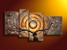 Four Panels Handpaint Abstract Group Oil Painting