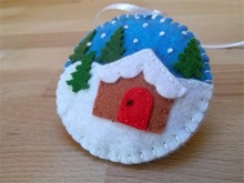 2015 Felt christmas ornament Christmas village snow globe ornamentmade in China