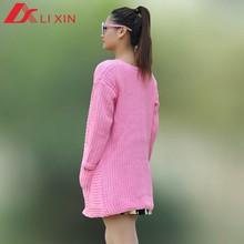 latest design ladies pink long sleeve knitwear
