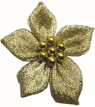 Glitter/Silver ribbon flowers with seven beads
