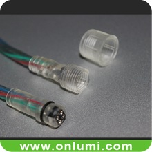 Transparent RGB DC connector for flex led strip