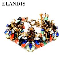 Fashion resin 18k bangle gold crystal rhinestone bracelets