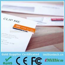 Mini plastic paper clip usb flash drive custom logo