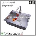 alto grau da nova chegada 710x520x220mmsingle bowltop montado pia da cozinha do granito