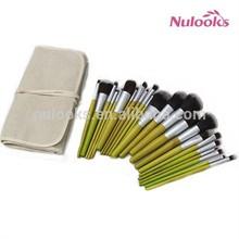 23pcs green bamboo hanle fiberflax bag eco-friendly makeup brush