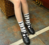 Customized White Lady Casual Crew Sock With Black Lines