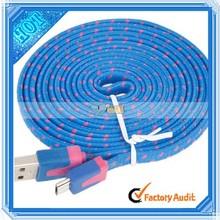Woven Nylon Fiber Fabric Braided 2m Micro USB Charging Cable