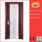 white plastic pvc blue glass toilet door pvc windows and doors factory SC-P102.