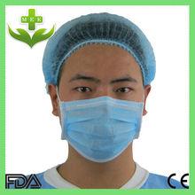 Xiantao wuhan hubei mek azul color no tejido desechable gorros quirúrgicos