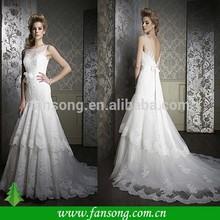 New fashion Custom made Cap Sleeve Appliqued Floor length Mermaid Wedding Dress Lace