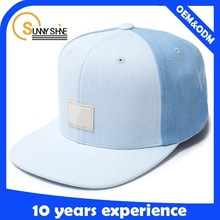 cheap two tone jean custom 6 panel snapback cap adjustable
