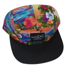 2014 popular product wholesale custom hawaii fabric beach camp 5 panel hats