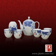 Chinese blue and white rice pattern tea set from Jingdezhen