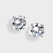 Cubic Zirconia 4.0 Ct. Each Round Stud CZ Earring