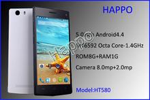 Newest best price 5 inch IPS screen WIFI RAM1GB and ROM8GB 8MP CPU mtk6592 octa-core ultra slim cheapest china mobile phone in i