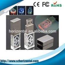 new hotsale simple design rectangle crystal usb flash drive 2.0 with custom logo