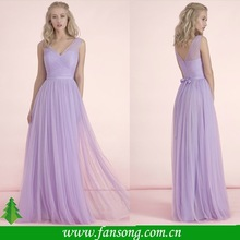 2015 Elegant Custom made Cap Sleeve Ruched A-line Floor Length Light Purple Tulle Bridesmaid Dress Patterns