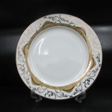 "7.5""-10.5""bone china plate with golden designs three designs"