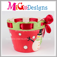 Ceramic Red Xmas Candy Pot without lid OEM